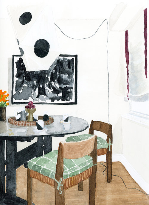 Interior Illustration Of Zak Proferas Dining Room As Photographed In Domino Magazine