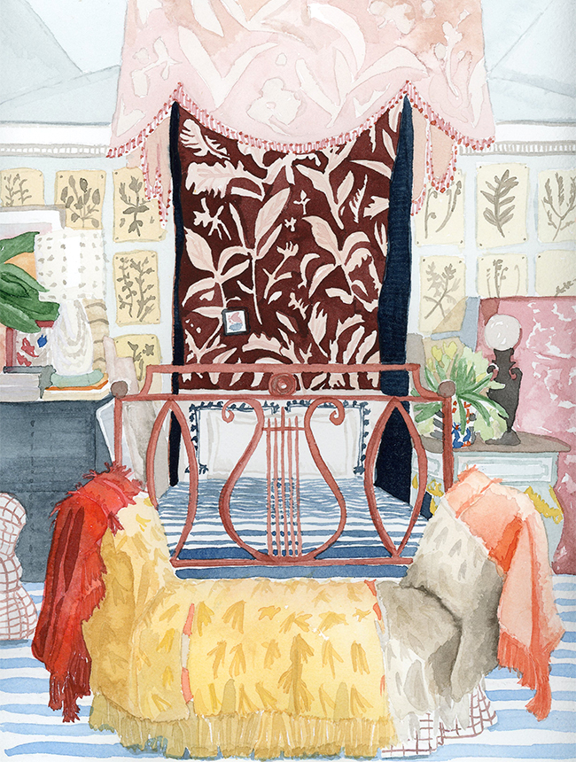 "interior illustration of Matthias Vriens-McGrath's bedroom, as photographed in Architectural Digest - watercolor on paper, 8"" x 10"""