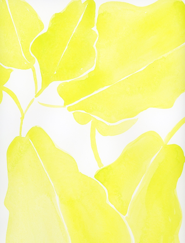 """""""electric leaves"""" - watercolor on paper, 9"""" x 12"""""""