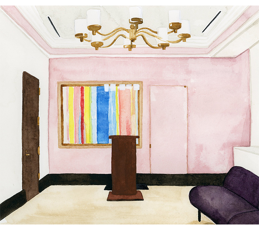 "interior illustration of New York City Hall Wedding Chapel - watercolor on paper, 8"" x 10"""