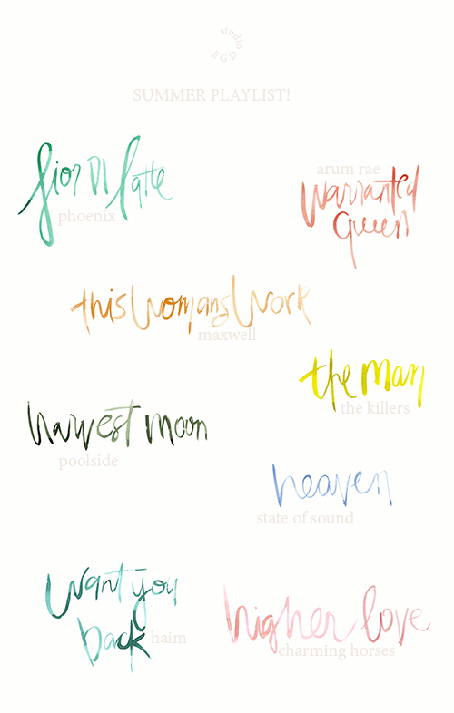 Watercolor Hand Lettering for Studio EGD Playlist