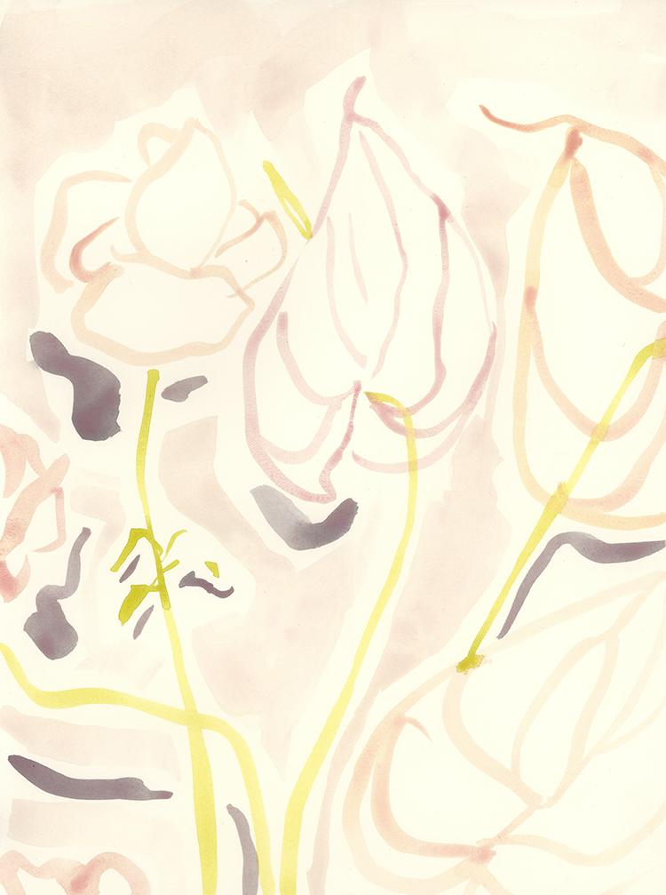 """Anthurium"" - Watercolor on paper, 9"" x 12"""