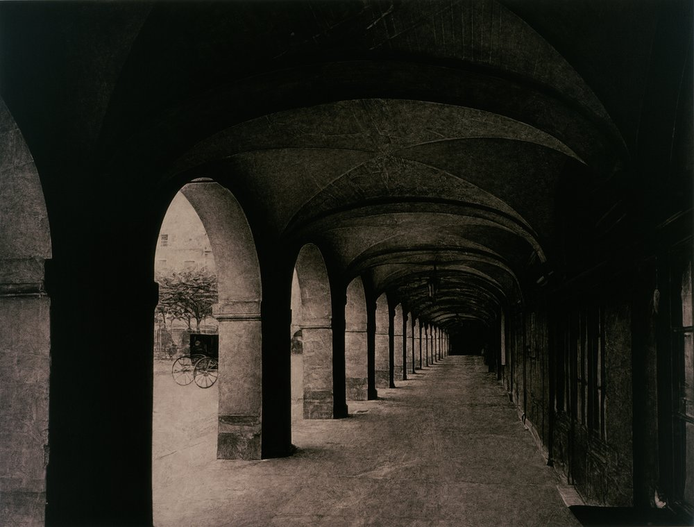 after Atget, 1924 (Place des Vosges)    48x64  , acrylic on canvas, 2000