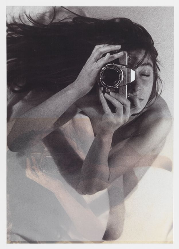 after Janice Guy, 1979.1 (self-portrait)    27x17,   2 inkjet prints on mylar, constructed, one over the other, 2012
