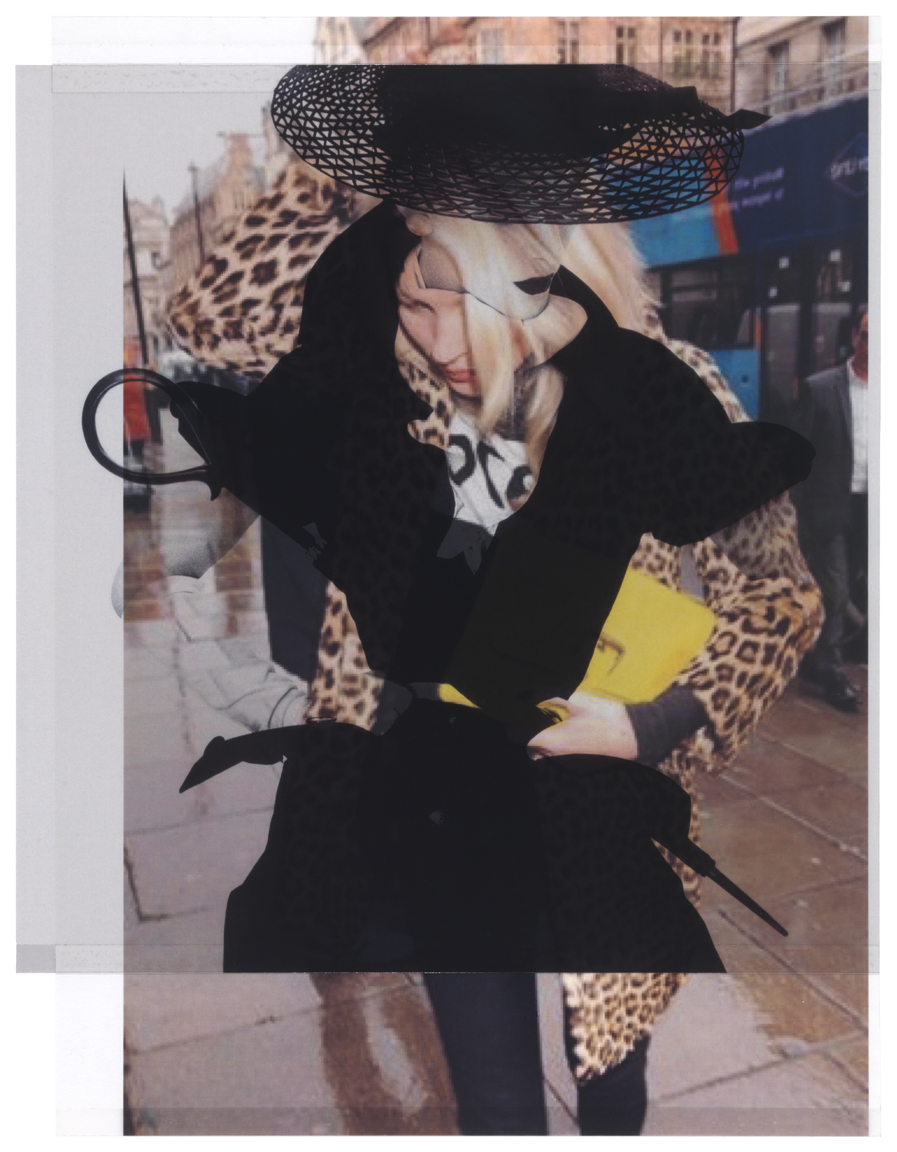 after Irving Penn (Lisa Fonssagrives, after 1947, for Conde Nast) from style.com, August 2015 / from zimbio.com, November 1, 2012 (Kate Moss goes for lunch at the Wolseley in Central London)    10 3/4 x 8 1/4, 2 inkjet prints on mylar, constructed, one over the other, 2015-16
