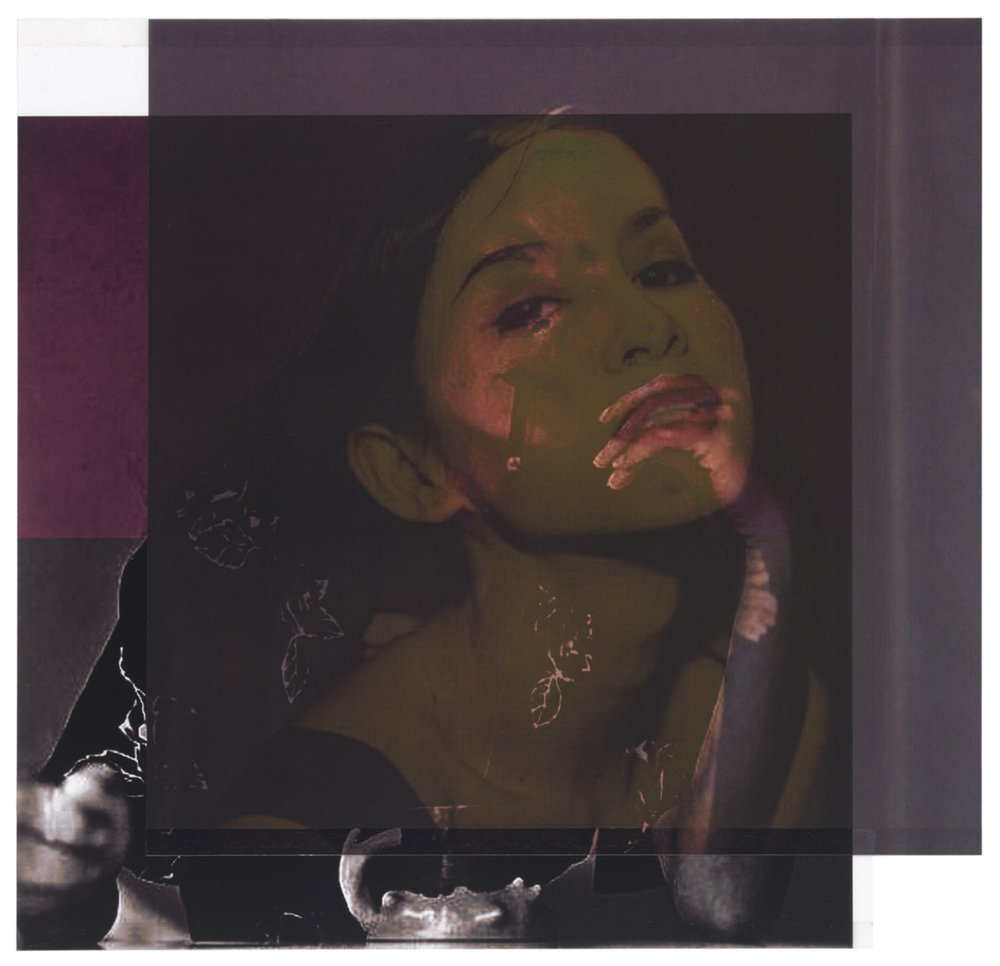 after Nan Goldin, 1992 (C. in the Club, Bangkok) / after Patricia Faure, 1972 (Helena Kallianiotes with Ken Price cup)    9 1/8 x 9 1/2,   2 inkjet prints on mylar, constructed, one over the other, 2015-16