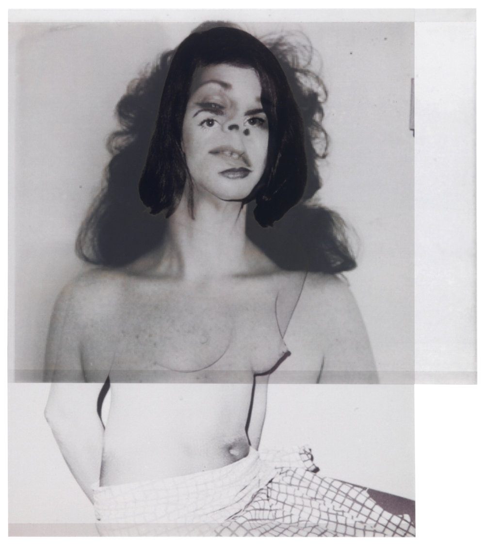 after Warhol, 1985 (Pat Hearn) / photographer unknown, 1972 (Ruth Kligman)    10 3/4 x 9 1/2,   2 inkjet prints on mylar, constructed, one over the other, 2015-16