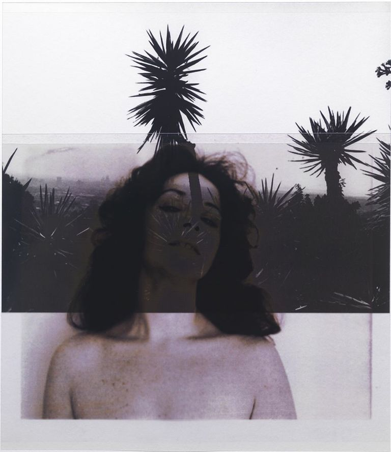 of Ruth Kligman, 1972 / after Bruce Davidson, 2008.1, LA             (Runyon Canyon Road)    12x10,   2 inkjet prints on mylar, constructed, one over the other, 2012