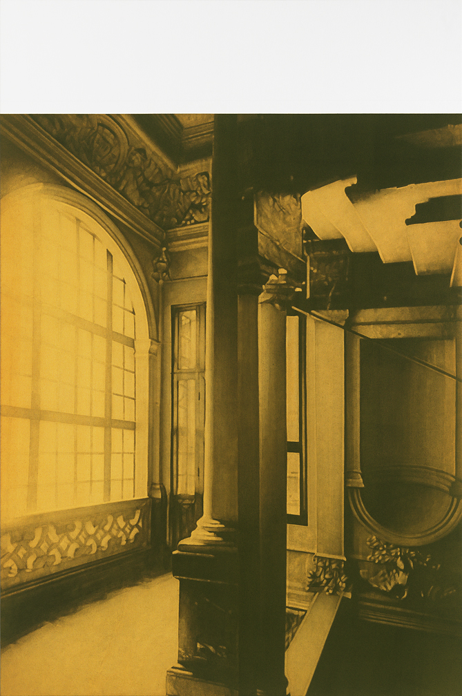 after Atget, 1902 (Vestibule, grand staircase, Hotel de Beauvais)    66x44, acrylic on canvas, 2011