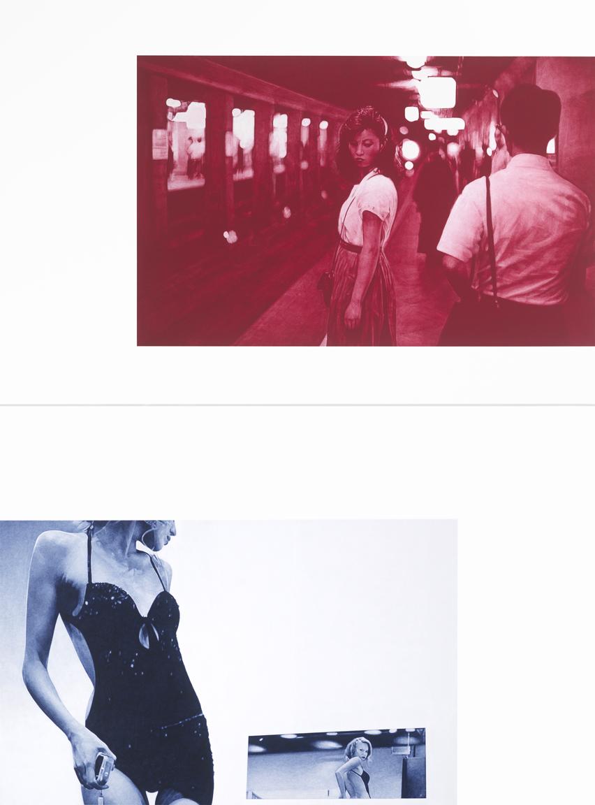 after Van der Elsken, 1981 (Girl in the Underground, Tokyo) / from Valeria Marini, 2009 (for Seduzioni, Milan)    88x66 diptych, acrylic on canvas, 2013