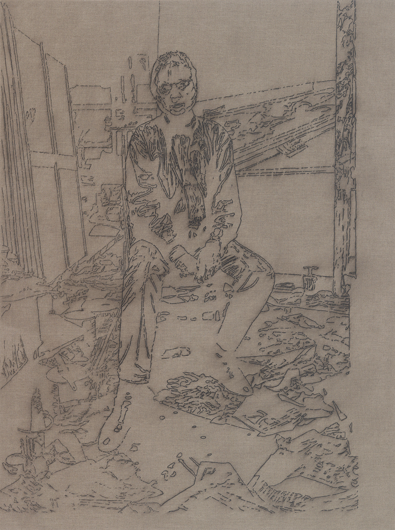 after Bruce Bernard, London, 1984 (Francis Bacon in his studio)    44x33, pigment marker and polymer medium on linen,2011