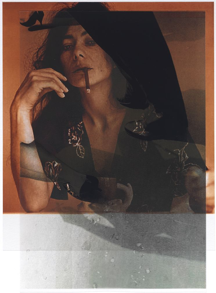 after Patricia Faure, 1972, LA (Helena Kallianiotes) / after Garry Winogrand, 1961 (New York)      11x8, 2 inkjet prints on mylar, constructed, one over the other, 2012