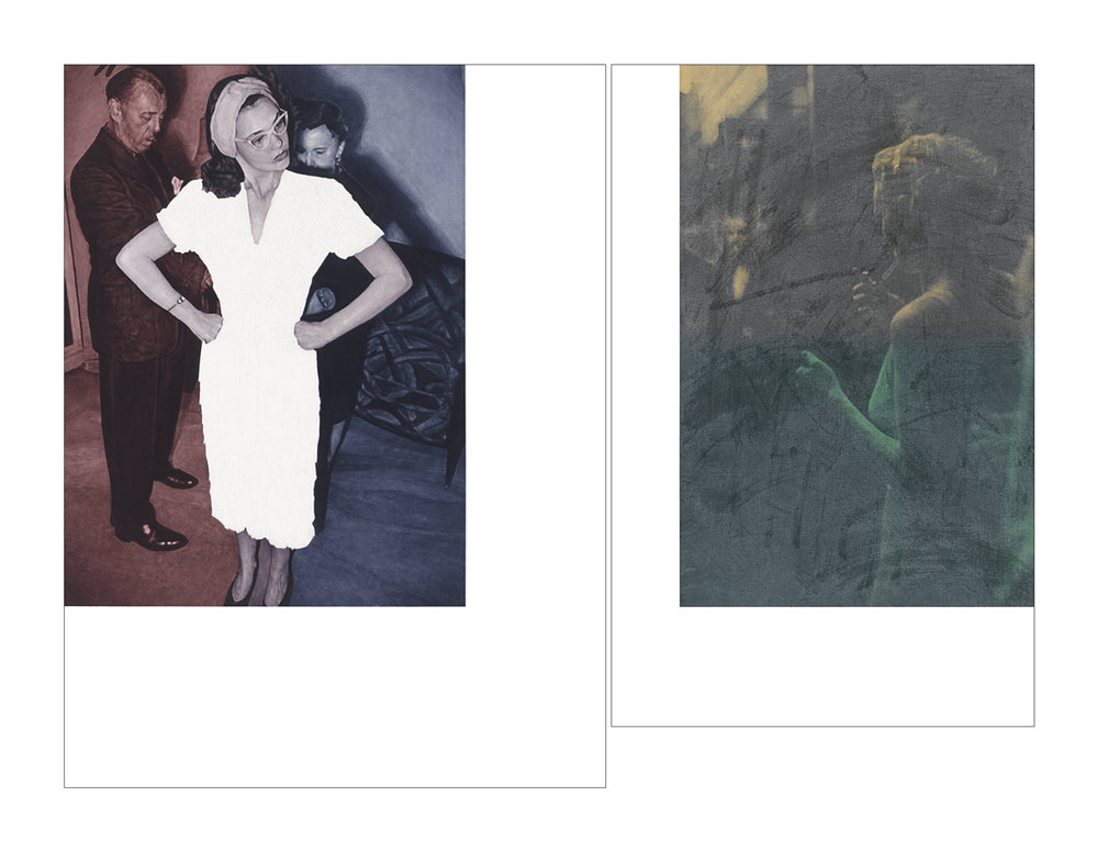 Gloria Vanderbilt posing for Look, 1941 / after Remie Lohse, for Vogue, November 1933    48x62 diptych, acrylic on canvas, 2011