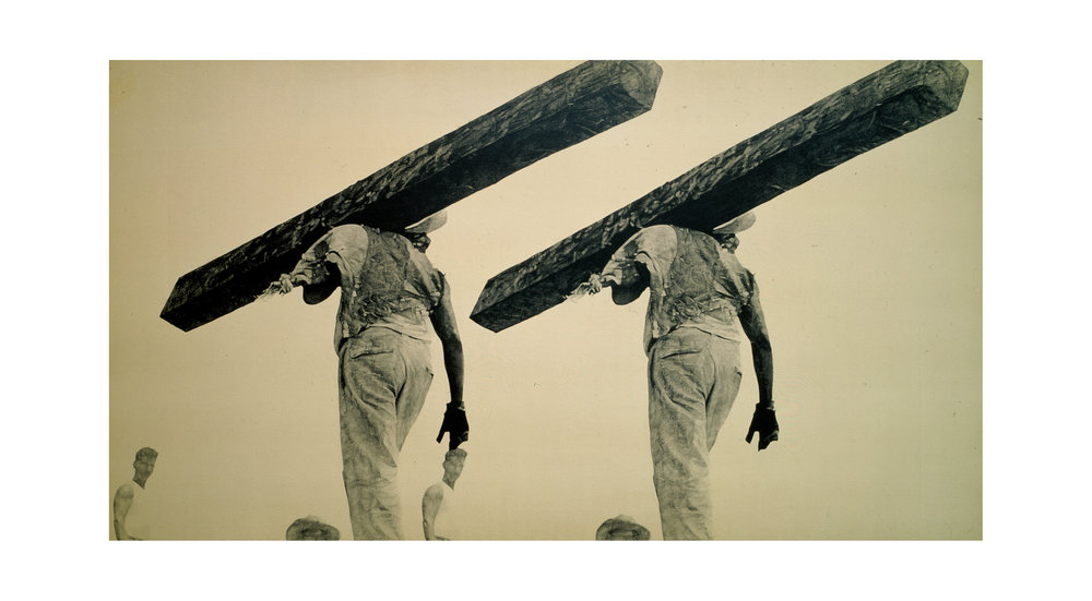 after Modotti, 1928 (Mexican worker)    44x80  , acrylic on canvas, 2002