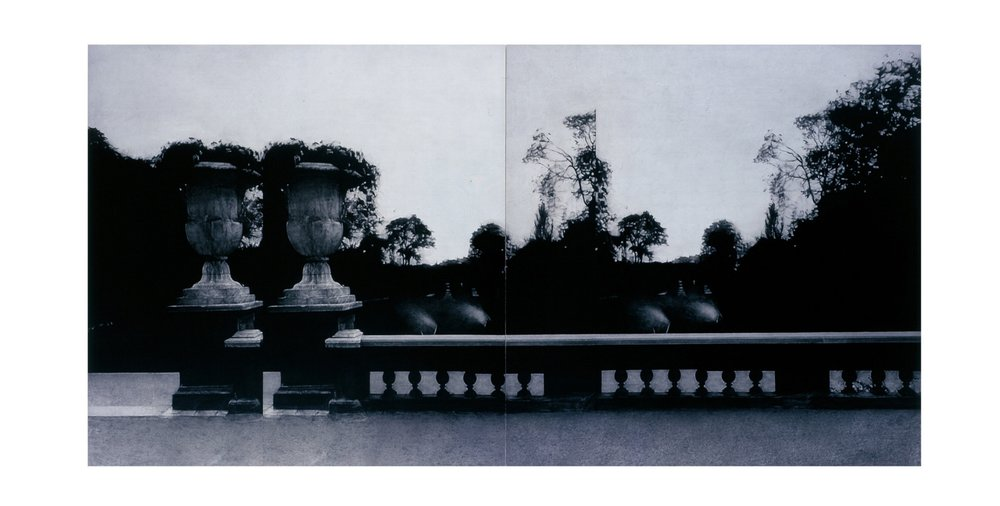 after Atget, nd (Ambassade d'Autriche, Hotel Matignon)    60x120   diptych, acrylic on canvas, 2003