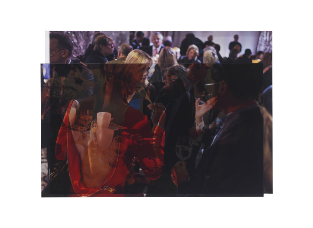 photographer unknown, 2012 (scene from Fashion Week, New York) / photographer unknown NYTs, April 2014 (Bob Colacello with Lise Evans at Whitney Museum's American Art Award dinner)    8 x 11 1/8, 2 inkjet prints on mylar, constructed, one over the other, 2015-16