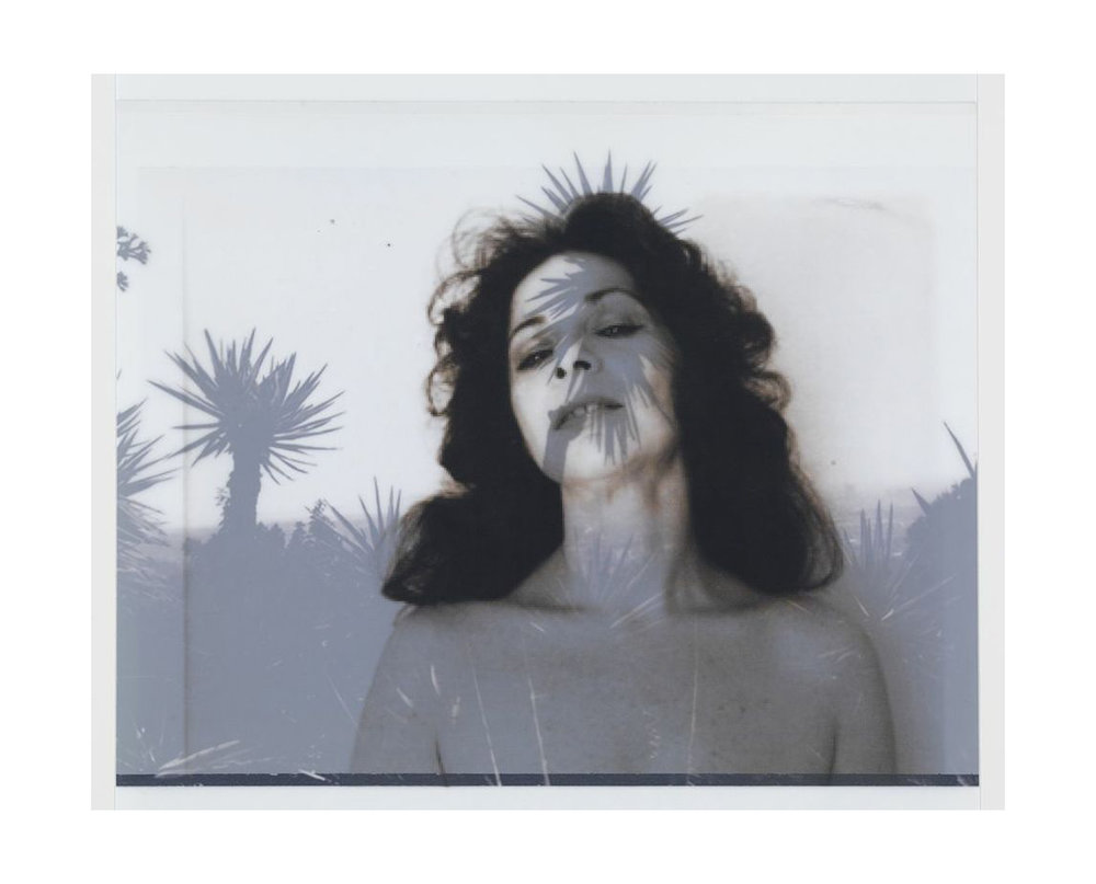 of Ruth Kligman, 1972 (photographer unknown) / after Bruce Davidson, 2008, LA (Runyon Canyon Road)    18x19,   2 inkjet prints on mylar, constructed, one over the other, 2012