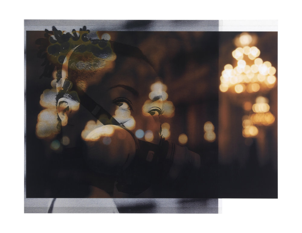 photographer unknown, 2013 (scene from Fashion Week, Paris) / photographer unknown NYTs, 2004 (model with gas mask)    8 1/4 x 10 3/4,   2 inkjet prints on mylar, constructed, one over the other, 2015-16