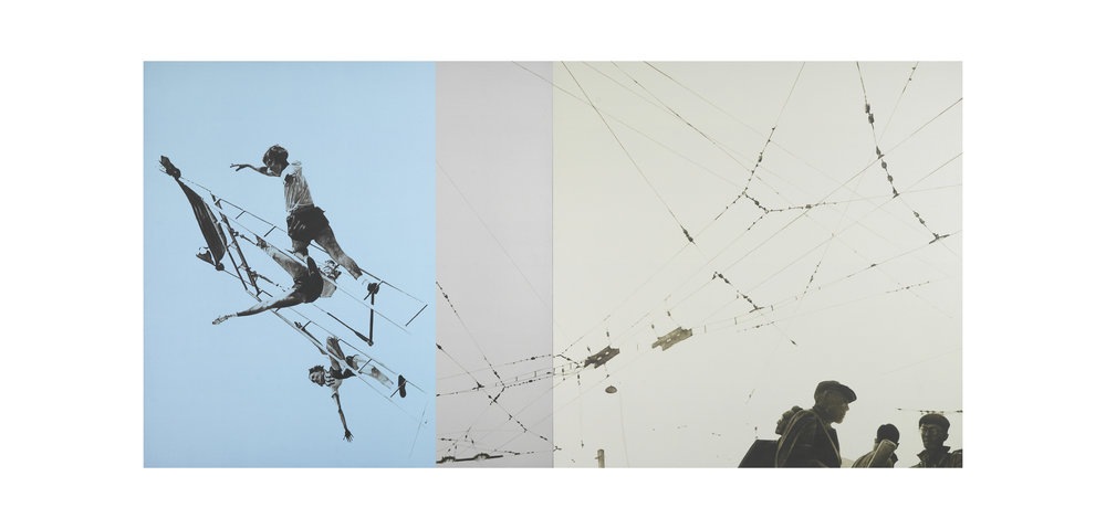after Rodchenko, 1932 (Gymnastics) / after Tomatsu, 1964 (Electric Wires, Tokyo)    44x88 diptych, acrylic on canvas, 2006