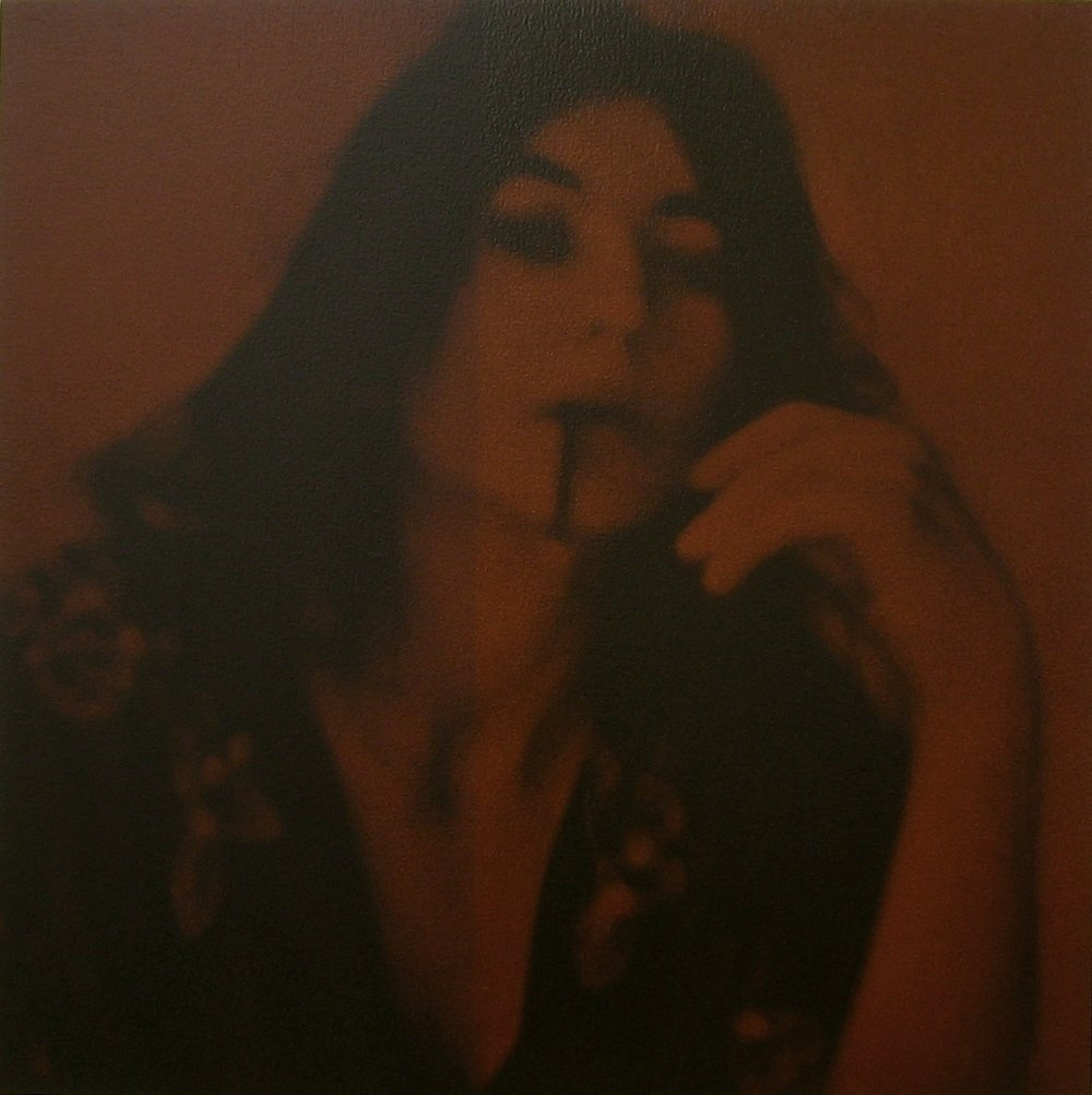 after Patricia Faure, LA 1972 (Helena Kallianiotes with Ken Price cup)    24x24, acrylic on canvas, 2005