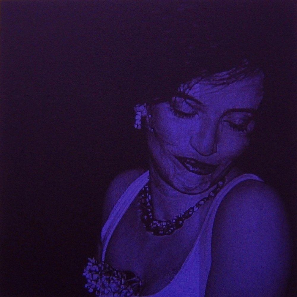 after Goldin, 1996 (Amanda at the Baby Doll Lounge, NYC)    24x24, acrylic on canvas, 2005