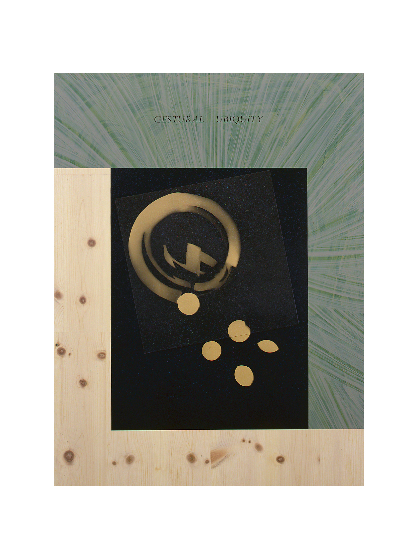 GESTURAL UBIQUITY (after L. Moholy-Nagy, photogram, nd)   48x36, acrylic/pine veneer on MDF, 1993
