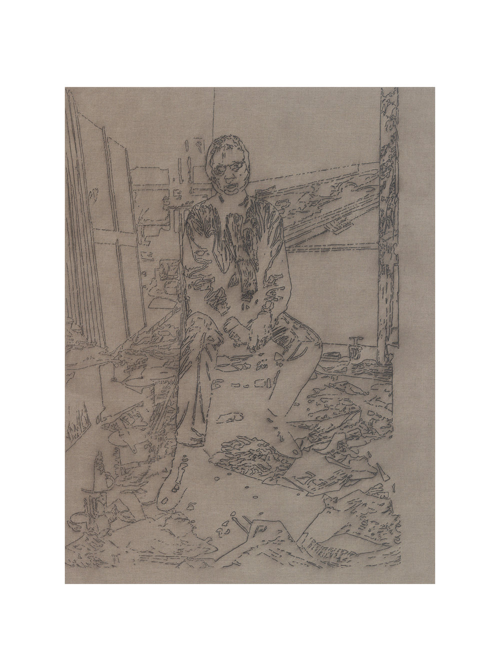 after Bruce Bernard, London, 1984 (Francis Bacon in his studio)   44x33, pigment marker and acrylic on linen, 2010-11