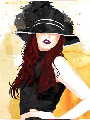 Water color - black hat