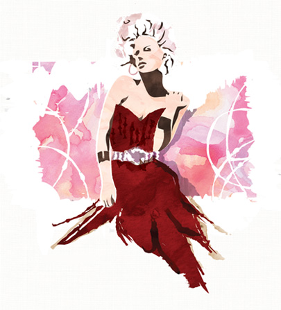 Smear Style Portrait - Red Dress