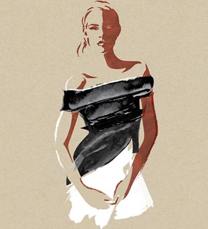Paint Smear Portrait - Black Dress