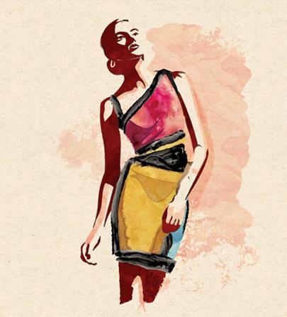 Paint Smear Portrait - Colored Dress