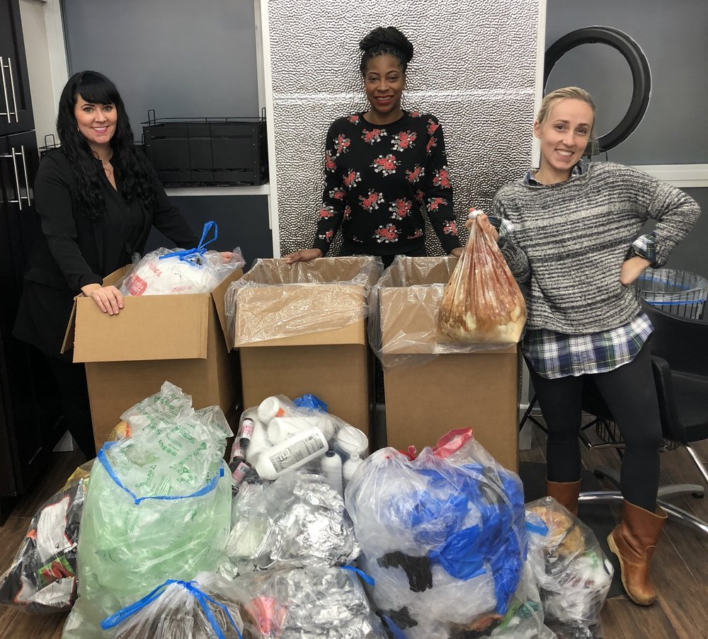 Doing our part to divert our salon waste from landfills and waterways. We recycle hair clippings, used foils, excess hair color, color tubes and much more! - From left: Cori, Anaise, and Sarah.