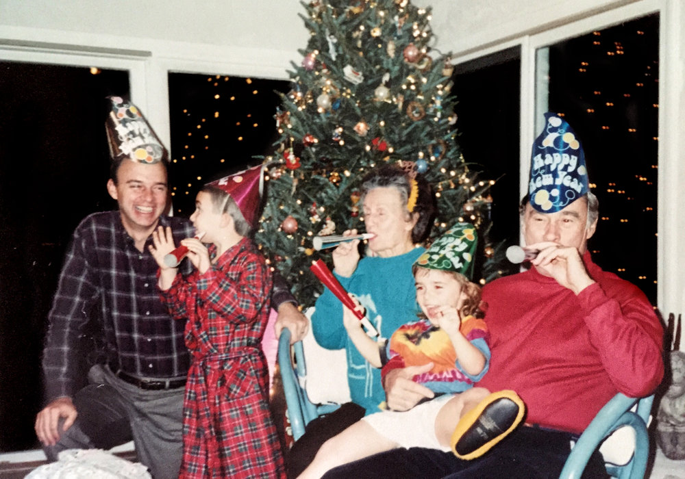 New Year's Eve 1991. From left: my dad (David), brother (John), great-grandmother (Nanny), me and my grandfather (Papou).