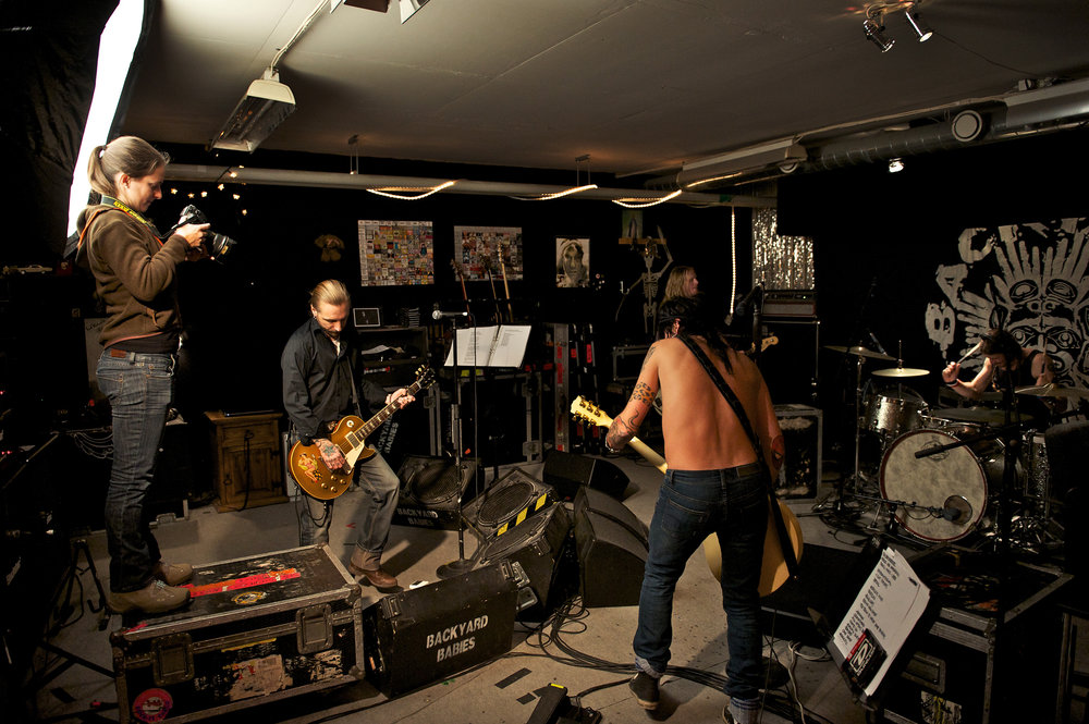 Making some images in the Backyard Babies' Stockholm studio with our Chimera triolet and a Nikon D3s.