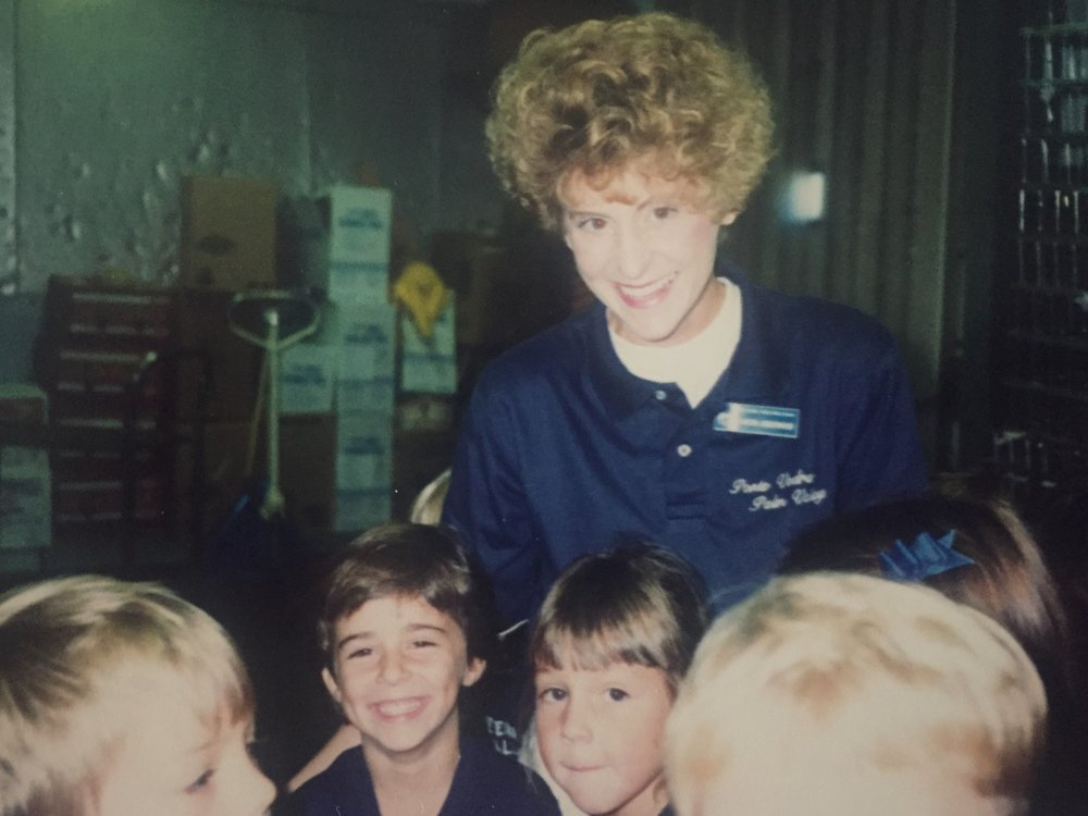 Mrs. Underwood during our field trip to Publix, the local grocery store. I'm the short-haired smiler to her left.