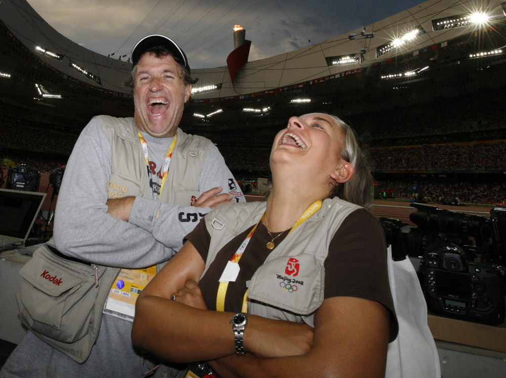 A picture I took of Anja and Bill at the Bird's Nest during the 2008 Olympic Games in Beijing.
