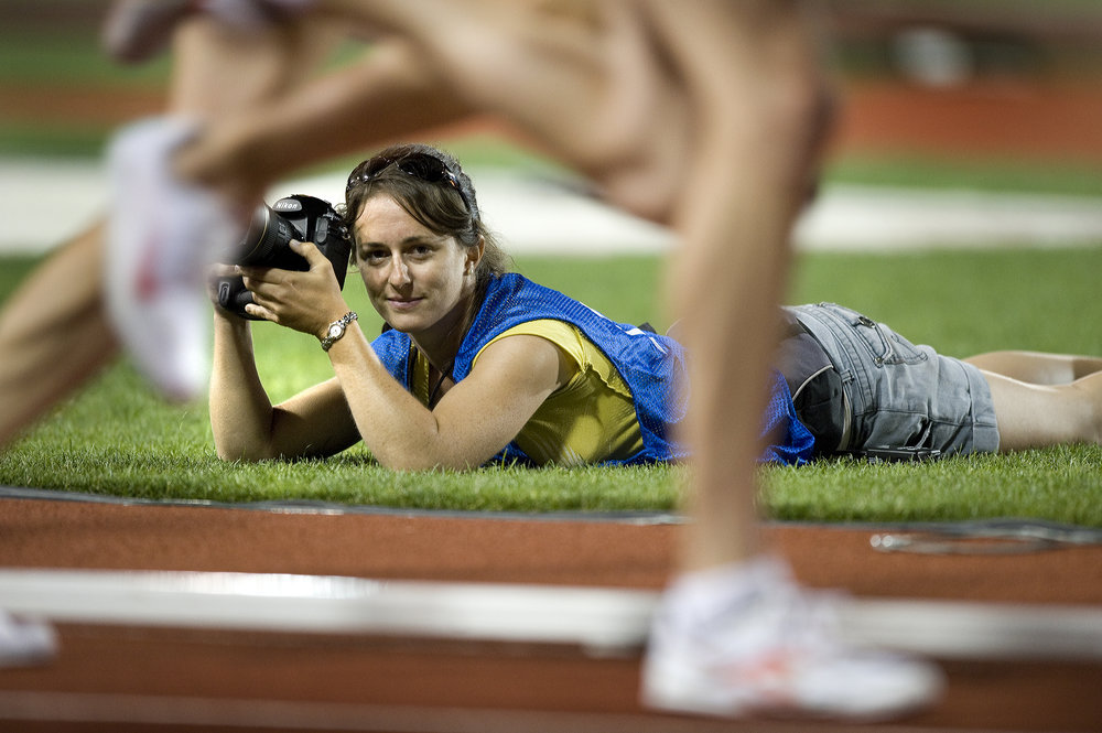 Taking pictures of the women's 10,000m final at the 2008 USATF Olympic Trials.