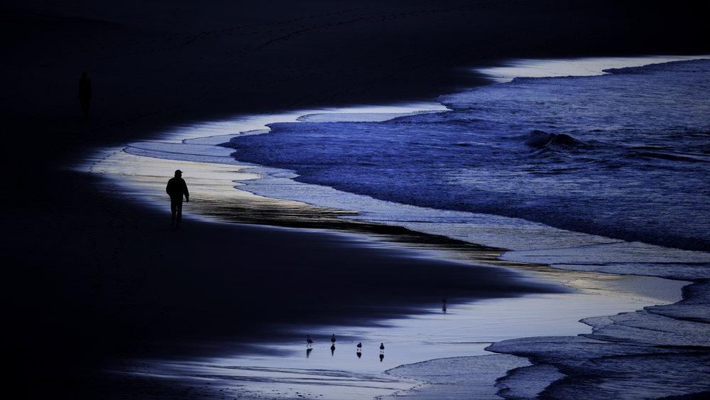 The pre-dawn glow at Bondi Beach.