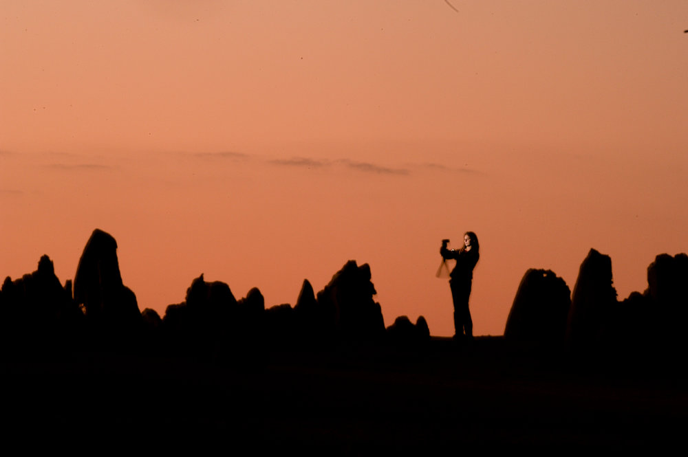 Flashing myself (pun intended) in the Nambung National Park at dusk in Western Australia.