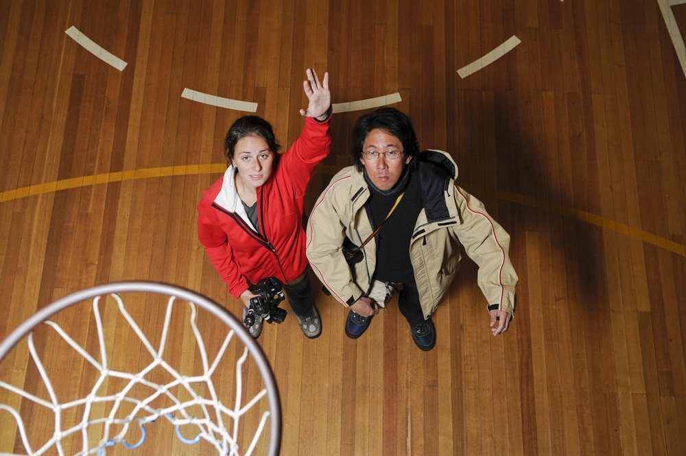 Testing the SB-900s for the basketball shot with Mr. Blue, one of our Japanese art directors.