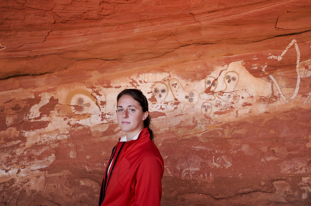 Ancient Aboriginal cave drawings somewhere outside Alice Springs.