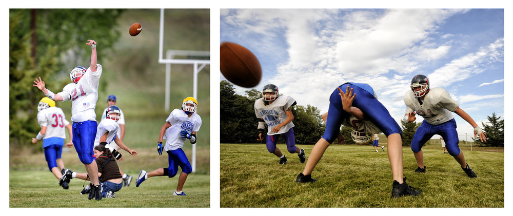 On the left, me in the middle of practice. Only in a place like Arthur do they let you shoot from between the tackles. On the right, the resulting image I made, one of the first images I remember making and liking.