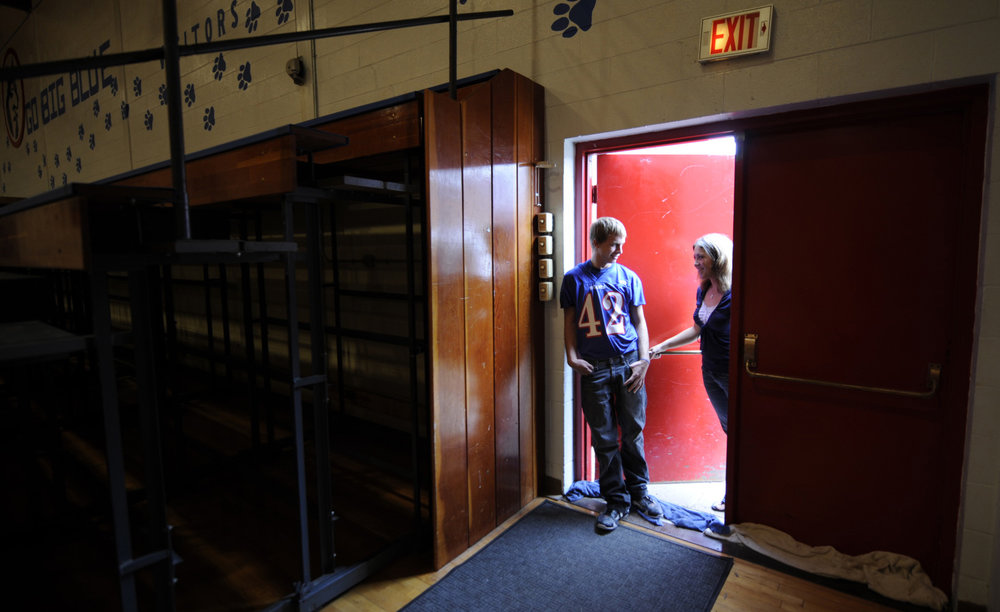 Jeff and Brittany in the school gym.
