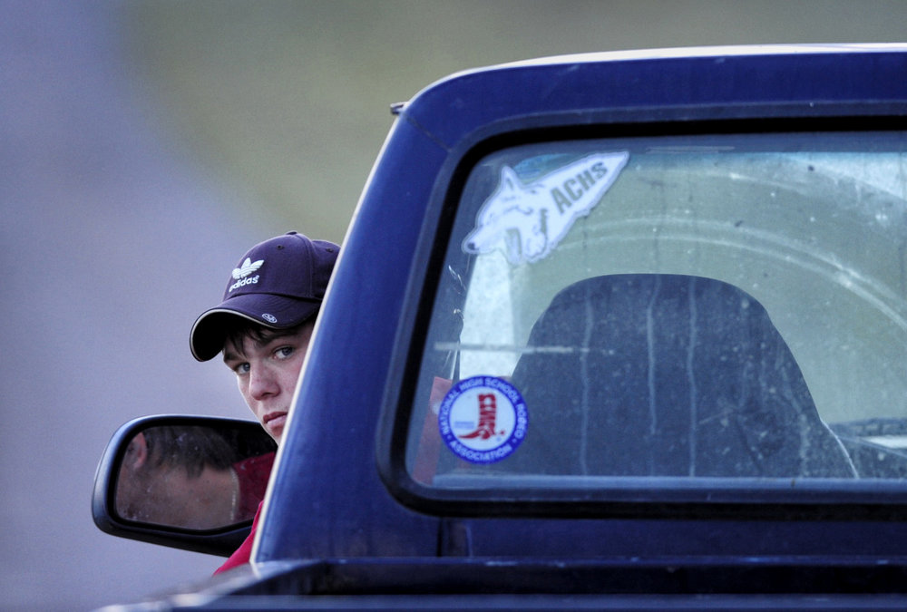 Brad Vasa in his truck on the road home.