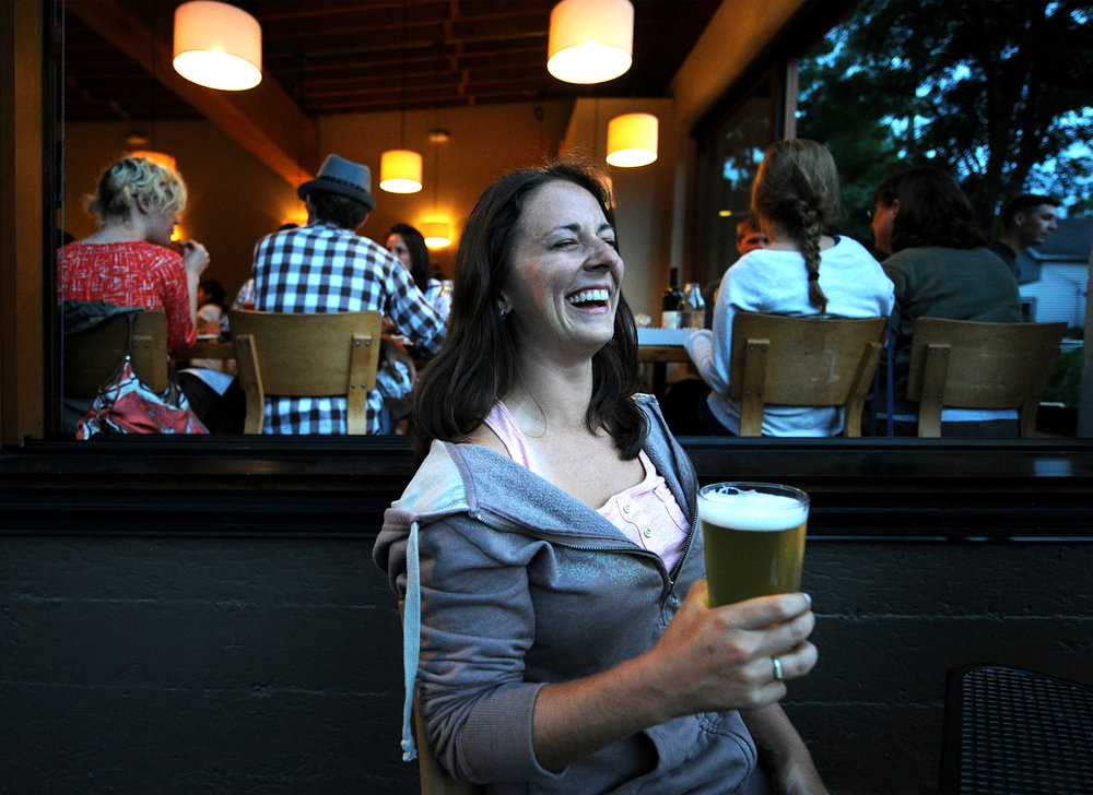 Enjoying a temperate night and a local beer in Portland, Oregon, in 2011.