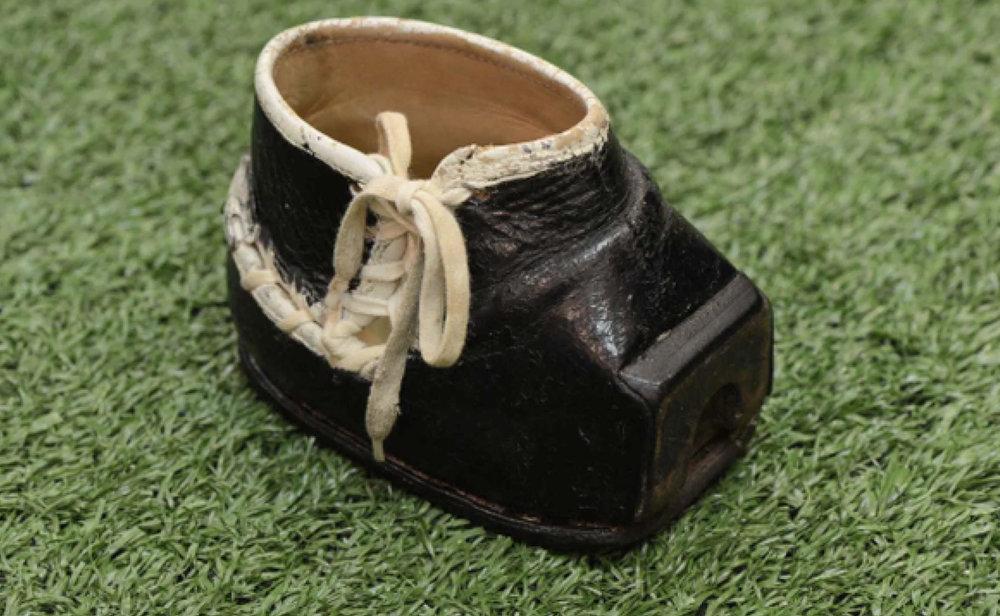 Tom Dempsey's custom kicking shoe, one of his memorabilia saved from Hurricane Katrina when his home flooded.