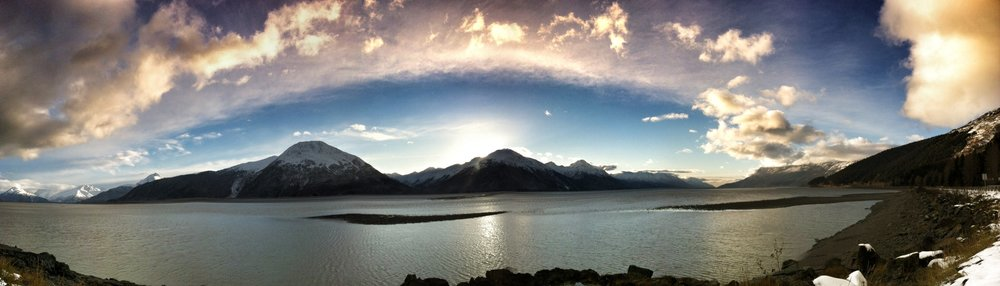 An iPhone pano image taken just outside of Anchorage.