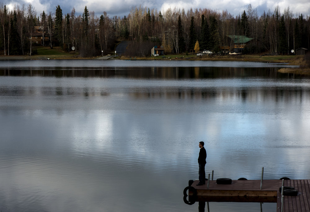 Jason Elam on his dock in Soldotna, Alaska