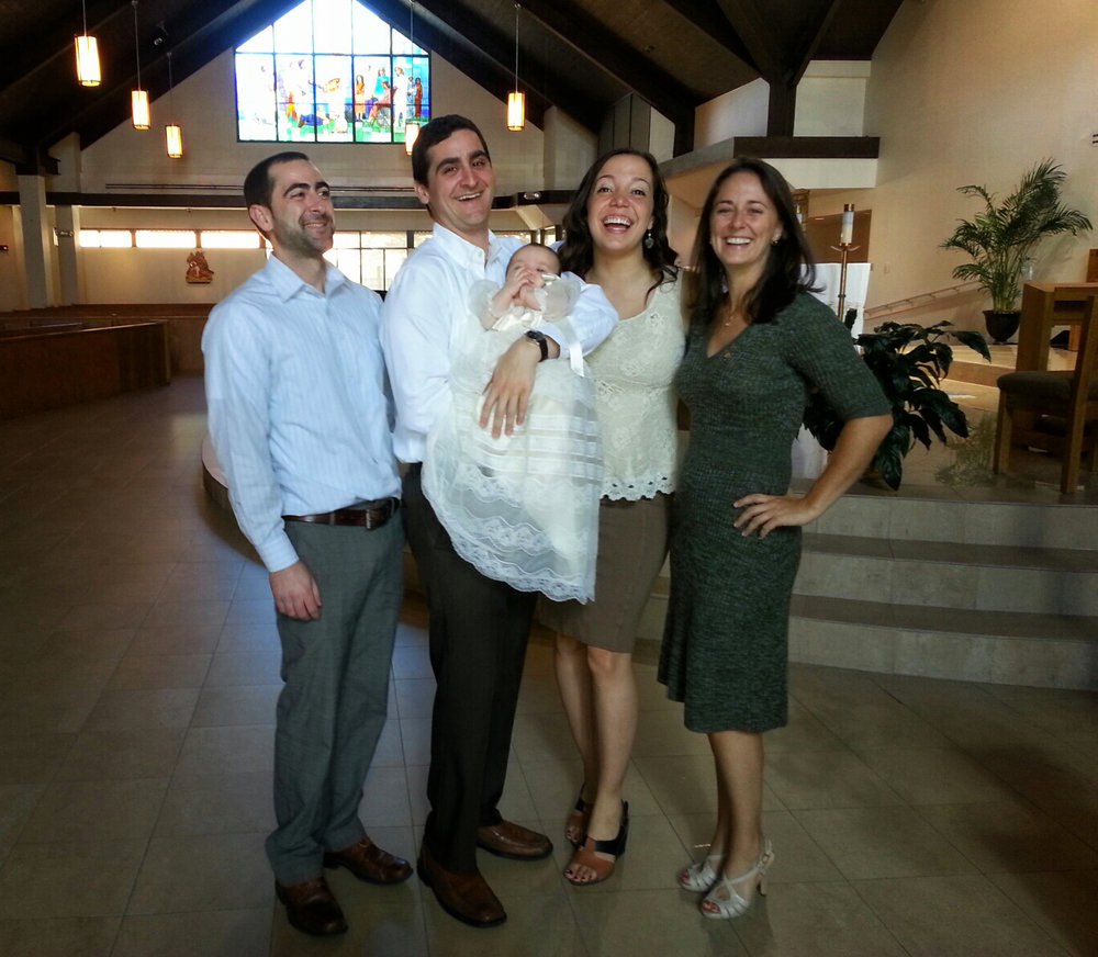 Sofia's Christening with (from left) Kyle (Adam's brother and co-Godparent), Adam, Sofia and Irina.