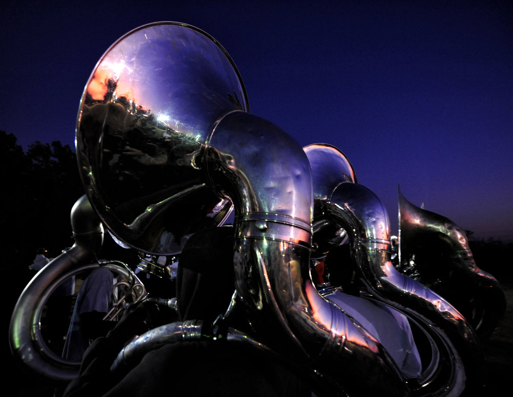 Sousaphones at dusk after a practice in Tallahassee. The sousaphone section in 2008 was the largest in the nation with 50 members.